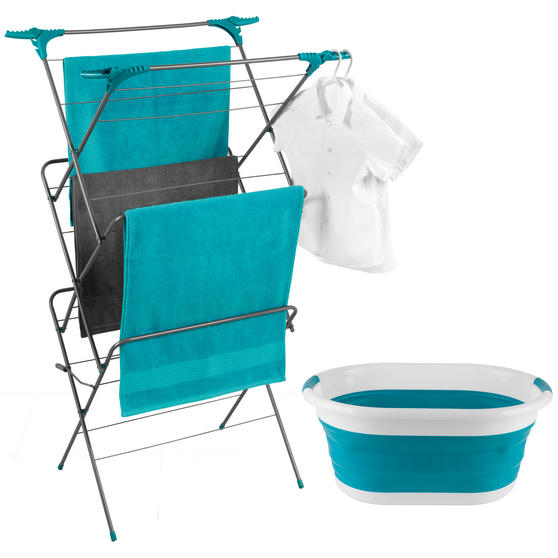 Beldray Elegant 3 Tier Clothes Airer with Collapsible Laundry Basket, 15 m Drying Space, Turquoise