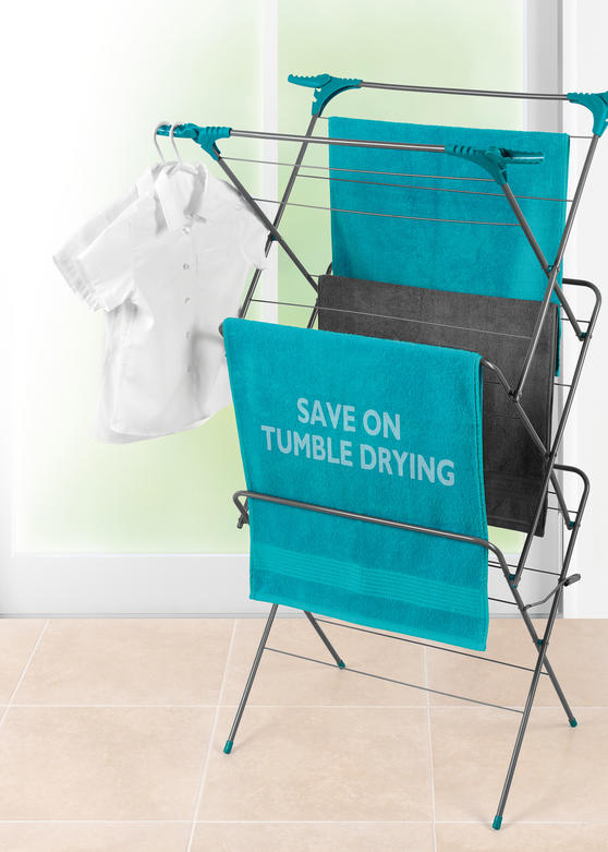 Beldray Elegant 3 Tier Clothes Airer with Collapsible Laundry Basket, 15 m Drying Space, Turquoise Thumbnail 2
