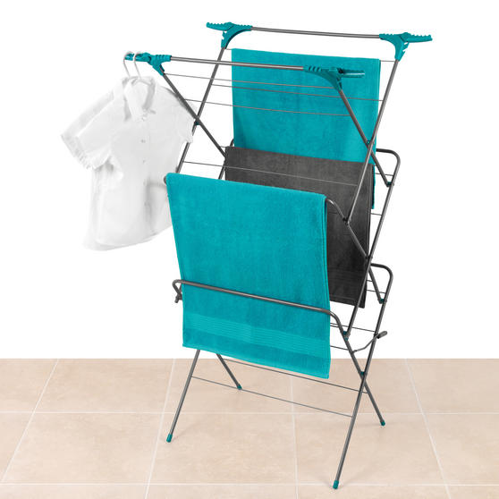 Beldray Elegant 3 Tier Clothes Airer with Collapsible Laundry Basket, 15 m Drying Space, Turquoise Thumbnail 4