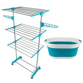 Beldray COMBO-3160 3 Tier Super Deluxe Airer with Collapsible Laundry Basket, Turquoise Thumbnail 1