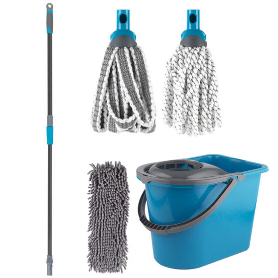 Beldray Click and Connect Set with Microfibre / Chenille Mops and Turquoise 14L Bucket