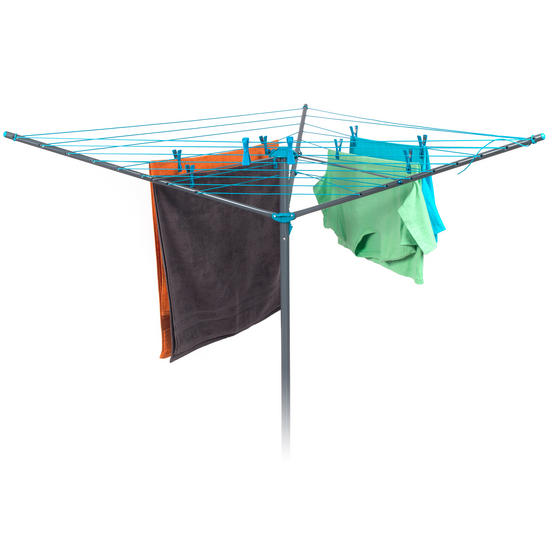 Beldray Rotary Outdoor Clothes Airer with Grey Collapsible Laundry Basket, 26 m Drying Space Thumbnail 2
