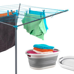 Beldray COMBO-3195 Rotary Outdoor Clothes Airer with Grey Collapsible Laundry Basket, 26 m Drying Space