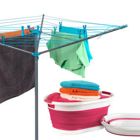 Beldray COMBO-3196 Rotary Outdoor Clothes Airer with Red Collapsible Laundry Basket, 26 m Drying Space
