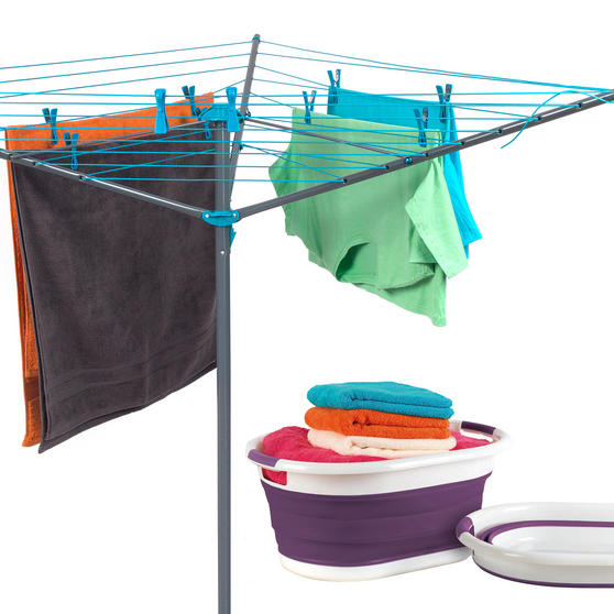 Beldray Rotary Outdoor Clothes Airer with Purple Collapsible Laundry Basket, 26 m Drying Space