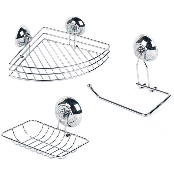 Beldray COMBO-1681 Suction Soap Dish, Shower Basket and Toilet Roll Holder Bathroom Storage Set, Chrome, Silver
