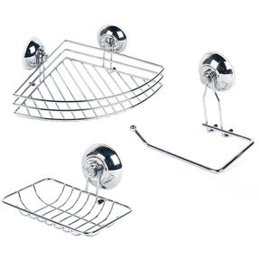 Beldray COMBO-1681 Suction Soap Dish, Shower Basket and Toilet Roll Holder Bathroom Storage Set, Chrome, Silver Thumbnail 1