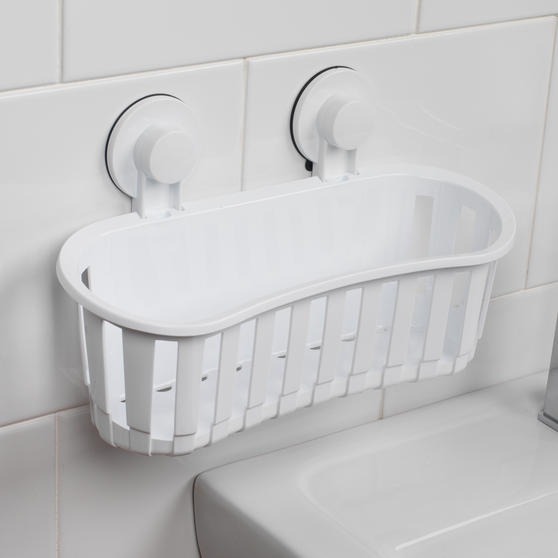 Beldray Set of 2 Plastic Suction Bathroom Shower Baskets, White Thumbnail 5