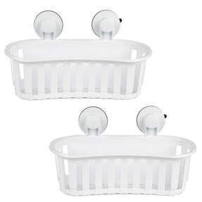 Beldray COMBO-2283 Set of 2 Plastic Suction Bathroom Shower Baskets, White