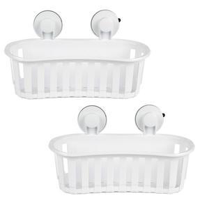Beldray COMBO-2283 Set of 2 Plastic Suction Bathroom Shower Baskets, White Thumbnail 1