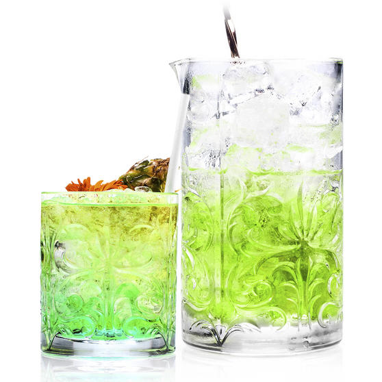RCR COMBO-2224 Tattoo Crystal Cocktail Mixing Glass and Short Tumbler Glass Set, 7 Piece