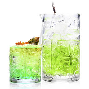 RCR COMBO-2224 Tattoo Crystal Cocktail Mixing Glass and Short Tumbler Glass Set, 7 Piece Thumbnail 1