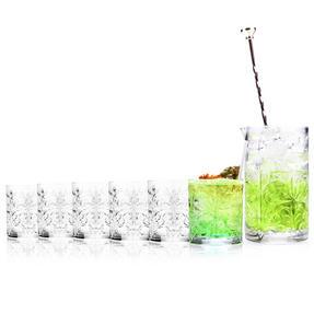 RCR COMBO-2224 Tattoo Crystal Cocktail Mixing Glass and Short Tumbler Glass Set, 7 Piece Thumbnail 2