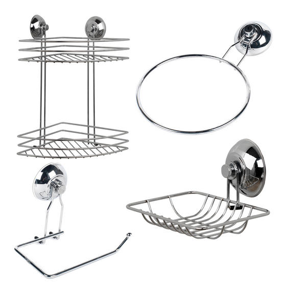 Beldray COMBO-1701 4-Piece Bathroom Suction Set, Soap Dish, Towel Ring, Toilet Roll Holder & 2 Tier Corner Shower Basket, Chrome