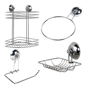 Beldray COMBO-1701 4-Piece Bathroom Suction Set, Soap Dish, Towel Ring, Toilet Roll Holder & 2 Tier Corner Shower Basket, Chrome Thumbnail 1