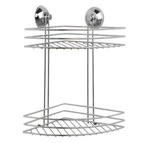 Beldray COMBO-1701 4-Piece Bathroom Suction Set, Soap Dish, Towel Ring, Toilet Roll Holder & 2 Tier Corner Shower Basket, Chrome Thumbnail 3
