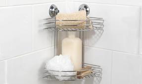 Beldray COMBO-1701 4-Piece Bathroom Suction Set, Soap Dish, Towel Ring, Toilet Roll Holder & 2 Tier Corner Shower Basket, Chrome Thumbnail 8
