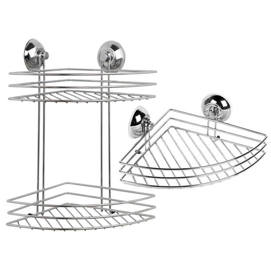 Beldray COMBO-1723 1-Tier & 2-Tier Corner Suction Shower Baskets, Chrome