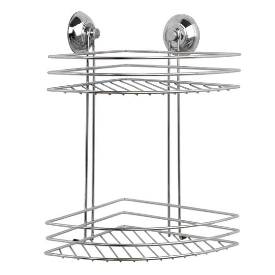 Beldray 1-Tier & 2-Tier Corner Suction Shower Baskets, Chrome Thumbnail 2