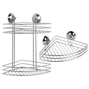 Beldray COMBO-1723 1-Tier & 2-Tier Corner Suction Shower Baskets, Chrome Thumbnail 1