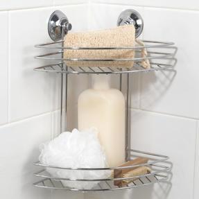 Beldray COMBO-1723 1-Tier & 2-Tier Corner Suction Shower Baskets, Chrome Thumbnail 5