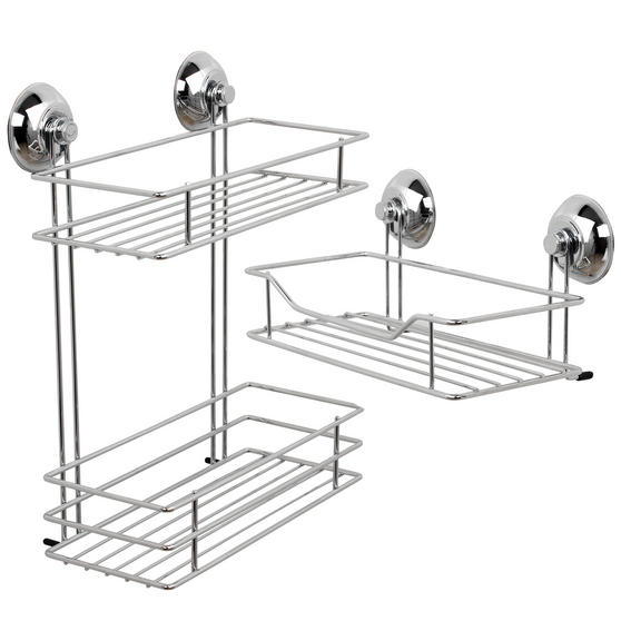 Beldray 1-Tier & 2-Tier Suction Shower Baskets, Chrome