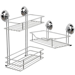 Beldray COMBO-1724 1-Tier & 2-Tier Suction Shower Baskets, Chrome