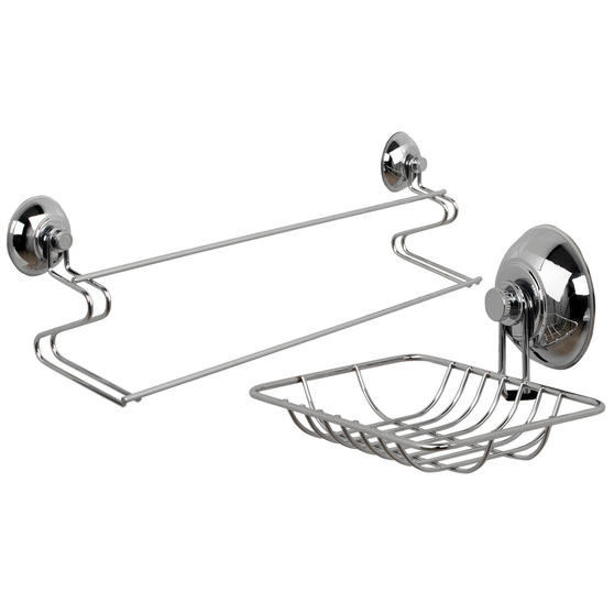 Beldray COMBO-1726 Suction Soap Dish & Towel Bar, Chrome