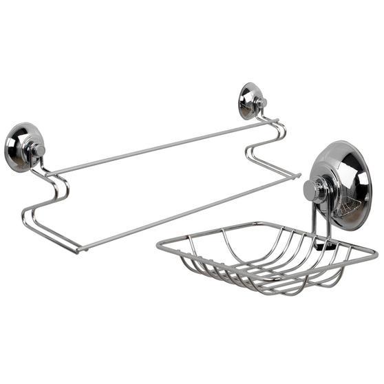 Beldray Suction Soap Dish & Towel Bar, Chrome Thumbnail 1