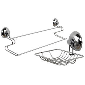 Beldray COMBO-1726 Suction Soap Dish & Towel Bar, Chrome Thumbnail 1