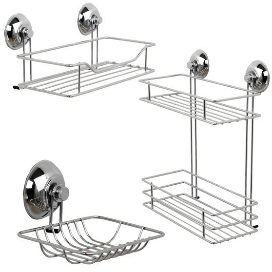 Beldray Suction Shower Baskets with Soap Dish, Chrome Thumbnail 1