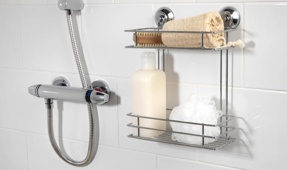 Beldray Suction Shower Baskets with Soap Dish, Chrome Thumbnail 5