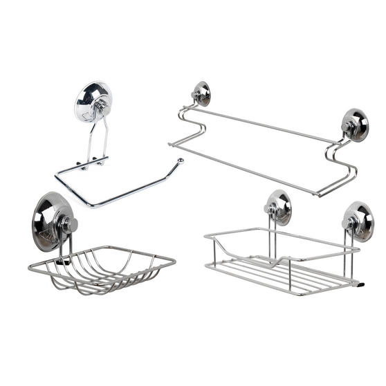 Beldray Bathroom Suction Towel Bar, Soap Dish, Shower Basket and Toilet Roll Holder