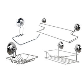 Beldray COMBO-3220 Bathroom Suction Towel Bar, Soap Dish, Shower Basket and Toilet Roll Holder