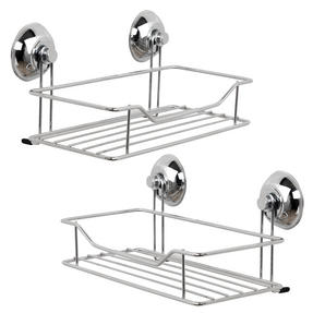 Beldray COMBO-3221 Set of 2 Bathroom Suction Shower Baskets, Chrome