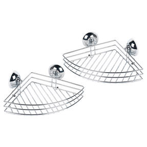 Beldray COMBO-3222 Set of 2 Bathroom Corner Suction Shower Baskets, Chrome