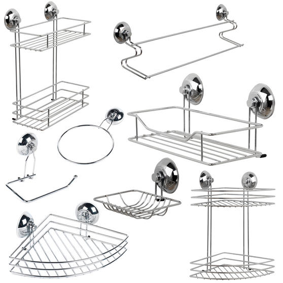Beldray Bathroom Suction Baskets, Soap Dish, Holders and Towel Ring Collection, Chrome