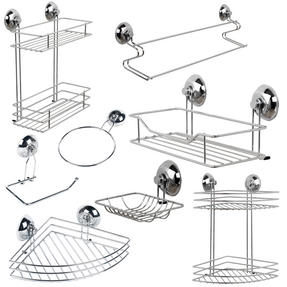 Beldray COMBO-3223 Bathroom Suction Baskets, Soap Dish, Holders and Towel Ring Collection, Chrome Thumbnail 1