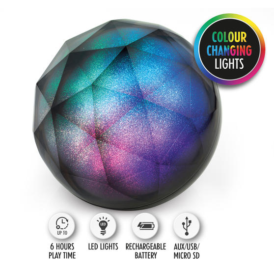 Intempo EE3434GSTKEU Geometric Glitter Ball Bluetooth Speaker with Colourful LED Lights for iPhones, Androids and Other Smart Devices, Superior Sound, 5 W Speaker Output