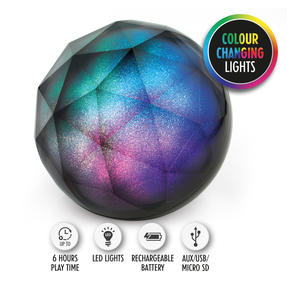 Intempo EE3434GSTKEU Geometric Glitter Ball Bluetooth Speaker with Colourful LED Lights for iPhones, Androids and Other Smart Devices, Superior Sound, 5 W Speaker Output Thumbnail 1