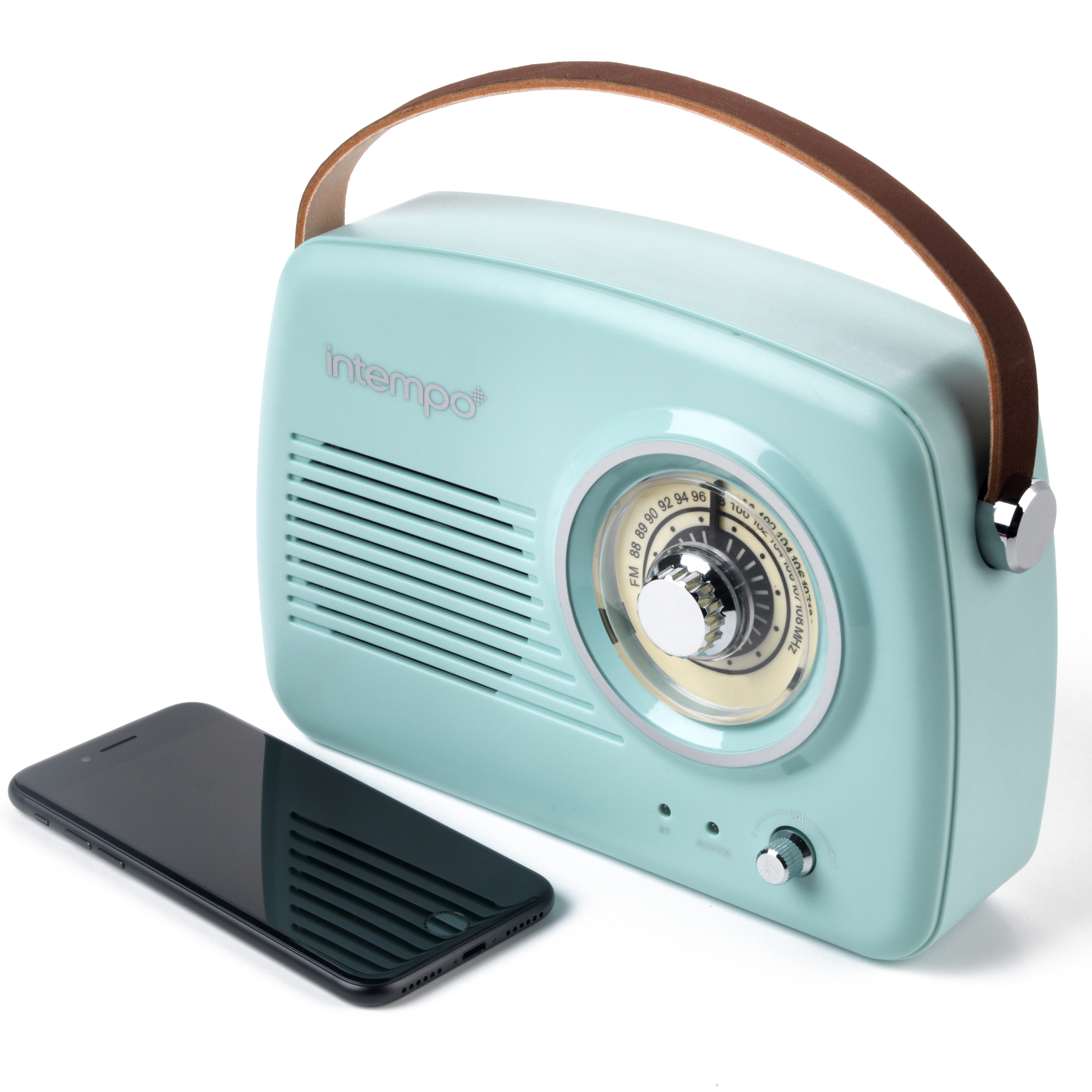 Intempo Bluetooth Speaker with FM Radio and Leather Carry Strap, 8 cm,  Duck Egg Blue