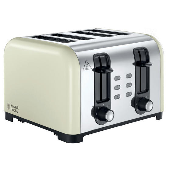Russell Hobbs 23544 4-Slice Wide Slot Toaster, Cream