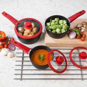 Progress COMBO-2049 Forged Saucepan and Wok Set with Pressed Aluminium Flip Pan Thumbnail 7