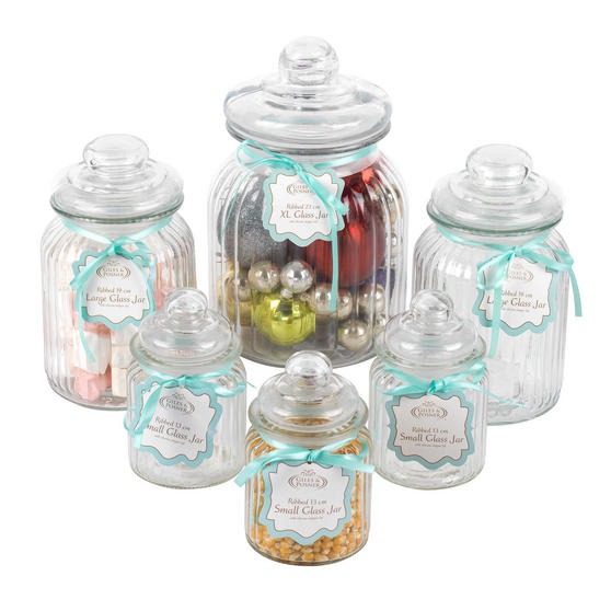 Giles & Posner Six Piece Ribbed Glass Candy Baking Storage Jars, with XL, Large and Small Caddies