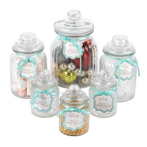 Giles & Posner COMBO-3256 Six Piece Ribbed Glass Candy Baking Storage Jars, with XL, Large and Small Caddies Thumbnail 1