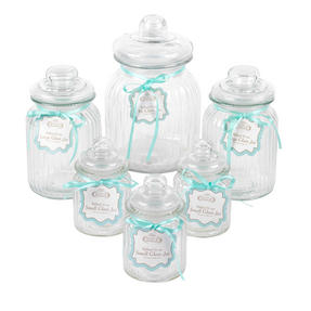 Giles & Posner COMBO-3256 Six Piece Ribbed Glass Candy Baking Storage Jars, with XL, Large and Small Caddies Thumbnail 4