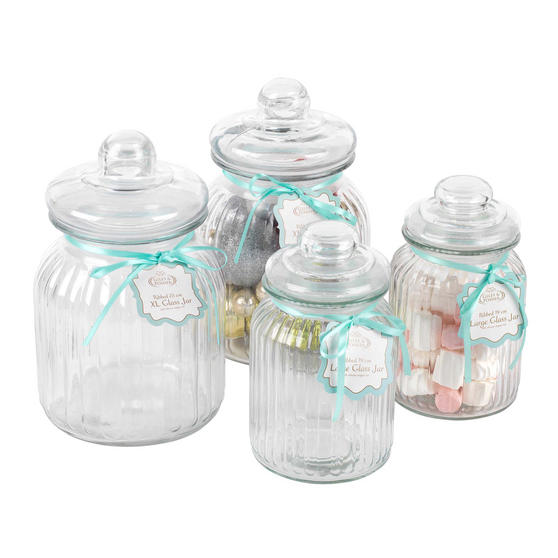 Giles & Posner Four Piece Ribbed Glass Candy Baking Storage Jars, XL and Large Sizes