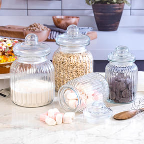 Giles & Posner COMBO-3257 Four Piece Ribbed Glass Candy Baking Storage Jars, XL and Large Sizes Thumbnail 2
