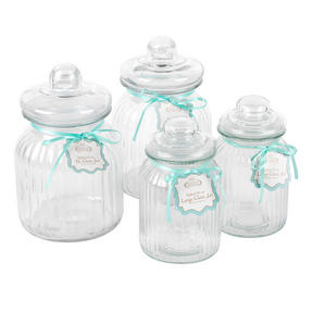 Giles & Posner COMBO-3257 Four Piece Ribbed Glass Candy Baking Storage Jars, XL and Large Sizes Thumbnail 3