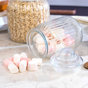 Giles & Posner COMBO-3257 Four Piece Ribbed Glass Candy Baking Storage Jars, XL and Large Sizes Thumbnail 5